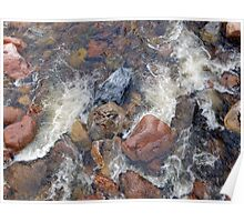 River rocks and rushing water Poster