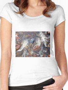 River rocks and rushing water Women's Fitted Scoop T-Shirt