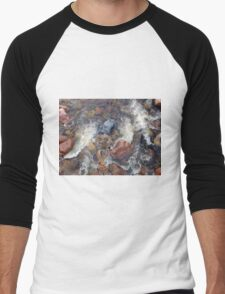 River rocks and rushing water Men's Baseball ¾ T-Shirt