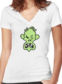 Angry Halloween Zombie Women's Fitted V-Neck T-Shirt