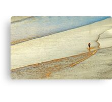 "Shore Surfing, skim surfing on the shallow waves on the beach at ""Avila Beach"" California Canvas Print"