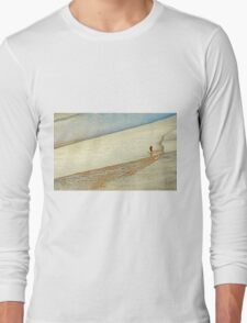 """Shore Surfing, skim surfing on the shallow waves on the beach at """"Avila Beach"""" California Long Sleeve T-Shirt"""