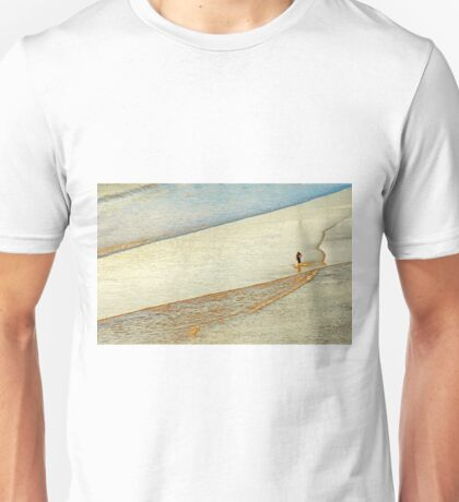 "Shore Surfing, skim surfing on the shallow waves on the beach at ""Avila Beach"" California Unisex T-Shirt"
