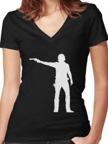 TWD Rick Grimes Silhouette Women's Fitted V-Neck T-Shirt