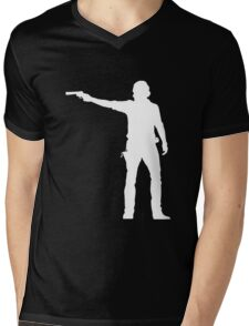 TWD Rick Grimes Silhouette Mens V-Neck T-Shirt
