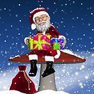 Santa With Gifts Holiday Winter Greeting Card by Moonlake