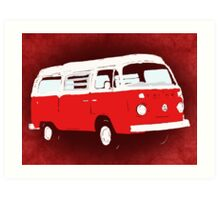 Bay Camper Red White New Version Art Print