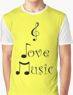 I Love Music - Yodeling Yellow Graphic T-Shirt