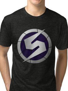 Purple Metroid Logo (Gravity Suit) Tri-blend T-Shirt