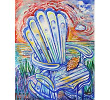Blue Rocking Chair Photographic Print