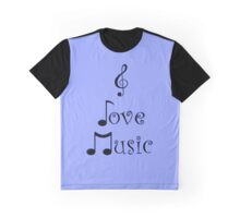 I Love Music - Bohemian Blue Graphic T-Shirt