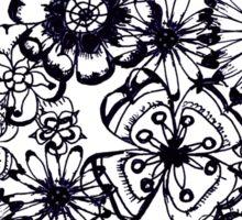 Black transparent flowers sketch Sticker