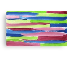 Watercolor Hand Painted Red Blue Green Stripes Background Canvas Print