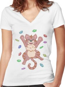 Kitty Heaven Brown Fur  Women's Fitted V-Neck T-Shirt