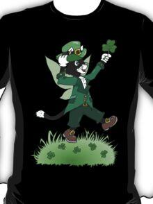 St Patricks Cait Sith with Shamrock T-Shirt