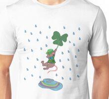 St Patricks Mouse Flying with Shamrock Unisex T-Shirt