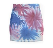 Watercolor Hand Painted Red Blue Sunburst Abstract Background Mini Skirt