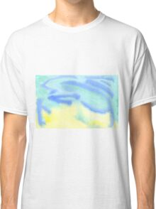 Watercolor Hand Painted Blue Yellow Green Abstract Background Classic T-Shirt