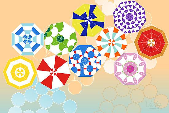 beach umbrellas by Veera Pfaffli