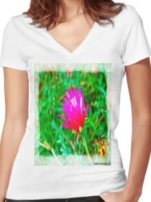 Color flower Women's Fitted V-Neck T-Shirt