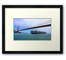 Commerce.- Cargo ship under the Golden Gate Bridge, San Francisco, California Framed Print