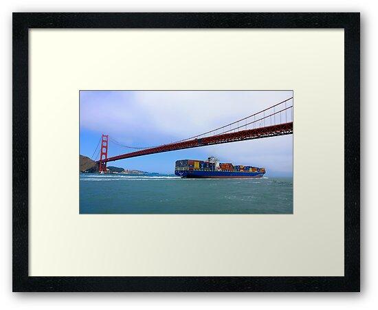 Commerce.- Cargo ship under the Golden Gate Bridge, San Francisco, California by Eyal Nahmias