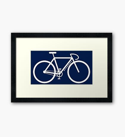 White Bike Silhouette Framed Print