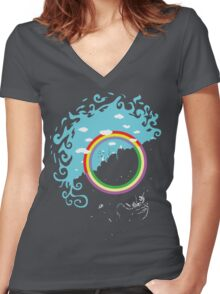 Somewhere under then rainbow Women's Fitted V-Neck T-Shirt
