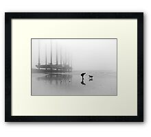 Man and Dog Newhaven Beach Framed Print