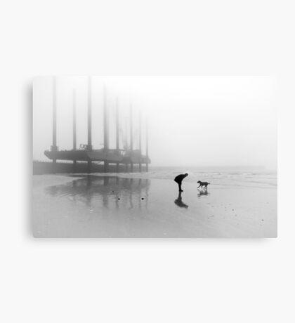 Man and Dog Newhaven Beach Metal Print