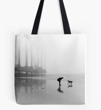 Man and Dog Newhaven Beach Tote Bag