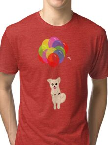 Puppy with Floating Balloons Tri-blend T-Shirt