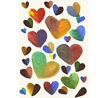 Hand-Painted Hearts in Colorful Chocolate Brown Photographic Print