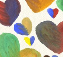 Hand-Painted Hearts in Colorful Chocolate Brown Sticker