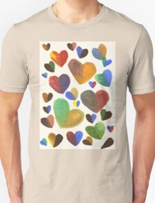 Hand-Painted Hearts in Colorful Chocolate Brown T-Shirt