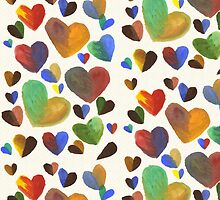 Hand-Painted Hearts in Colorful Chocolate Brown by Beverly Claire Kaiya