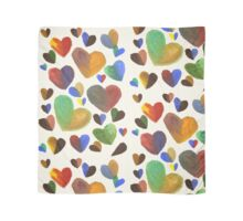 Hand-Painted Hearts in Colorful Chocolate Brown Scarf