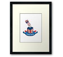 American Election Voting Ballot Box Retro Framed Print