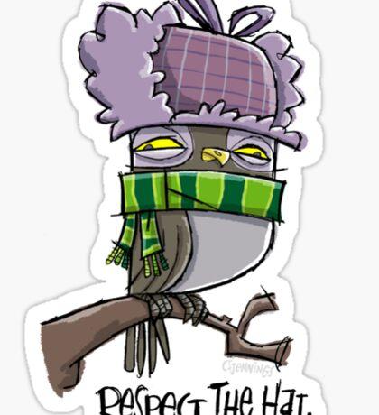 """respect the hat"" owl Sticker"