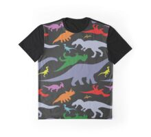 Colorful Dinosaurs Pattern (Dark) Graphic T-Shirt