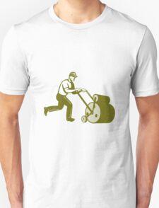 Gardener Landscaper Pushing Lawn Roller Retro Unisex T-Shirt