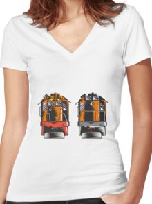 Diesel Train Front Rear Woodcut Retro Women's Fitted V-Neck T-Shirt