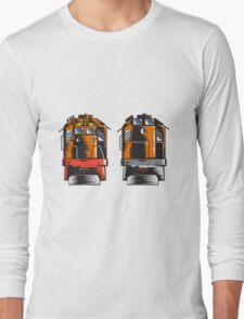 Diesel Train Front Rear Woodcut Retro Long Sleeve T-Shirt
