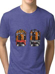 Diesel Train Front Rear Woodcut Retro Tri-blend T-Shirt