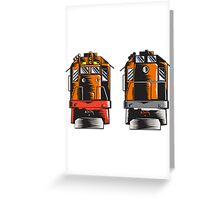 Diesel Train Front Rear Woodcut Retro Greeting Card