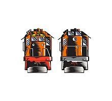 Diesel Train Front Rear Woodcut Retro Photographic Print