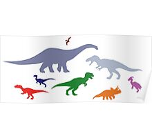 Colorful Dinosaurs Pattern (Light) Poster