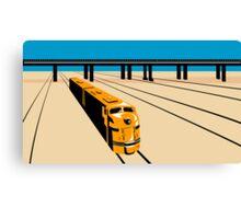 Diesel Train High Angle Retro Canvas Print