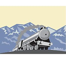 Steam Train Locomotive Mountains Retro Photographic Print
