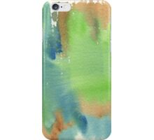 Watercolor Hand Painted Abstract Green Brown Blue Background iPhone Case/Skin